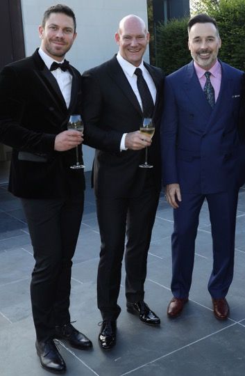 Christopher Glebatsas, Anthony McDonough and David Furnish at the David Furnish x LqD Dinner for LFWM (BFC, Darren Gerrish)